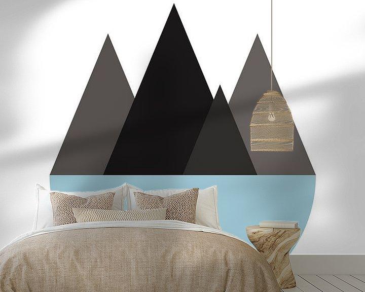 Sfeerimpressie behang: bergen en zee van Vera de Jong
