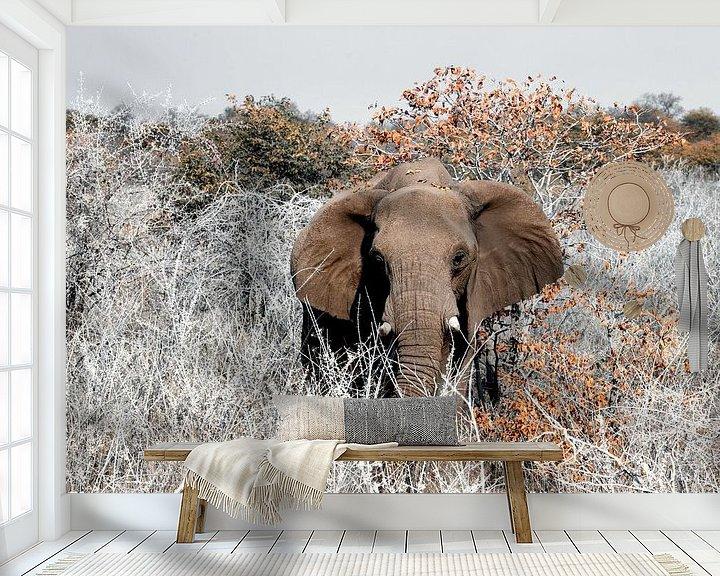 Sfeerimpressie behang: Etosha - naderende olifant van Rene Siebring