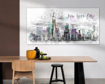 Modern Art NYC Manhattan Skyline | Aquarell von Melanie Viola