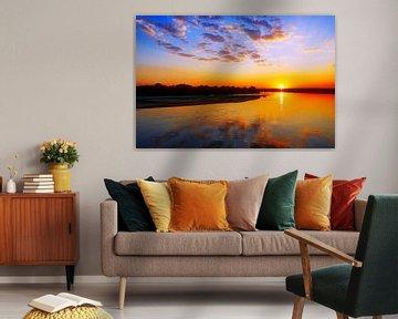 Sunset at Luangwa River, Zambia van W. Woyke