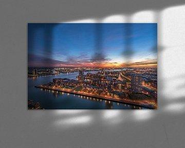 Stadsbeeld van Rotterdam op het blauwe uur van de Euromast van Gea Gaetani d'Aragona