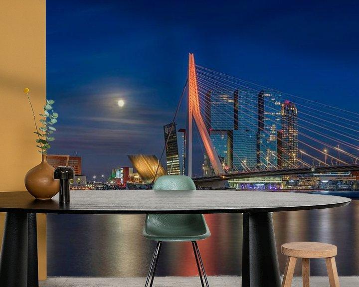 Impression: L'horizon de Rotterdam à la pleine lune sur Dennisart Fotografie