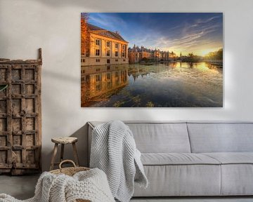 Mauritshuis, Binnenhof en Hofvijver tijdens zonsondergang van Rob Kints