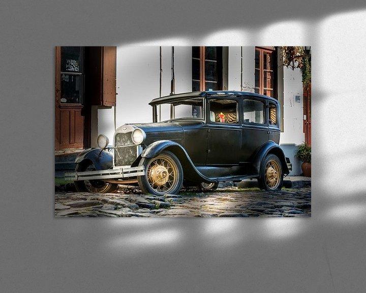Sfeerimpressie: Klassieke A-Ford in de straat Uruguay van Jan van Dasler