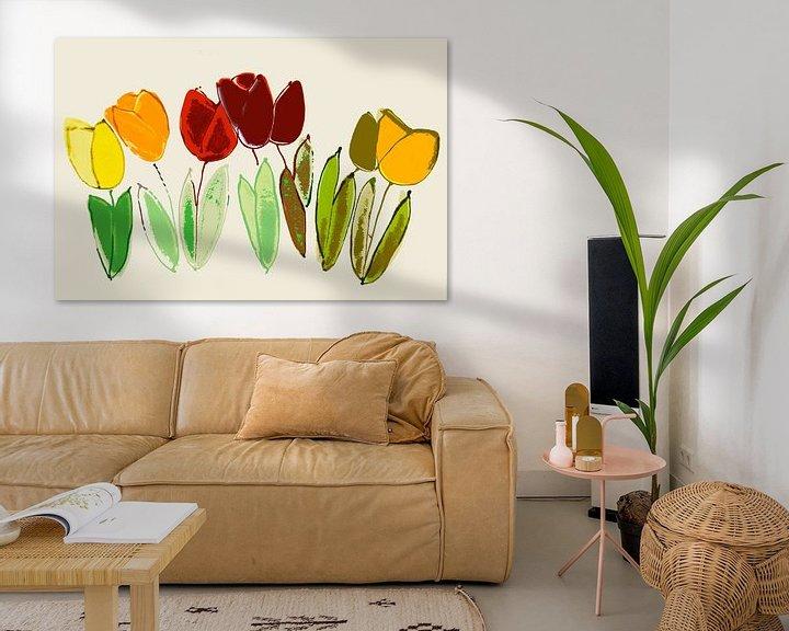 Sfeerimpressie: gestileerde, bijna abstracte tulpen van Hanneke Luit