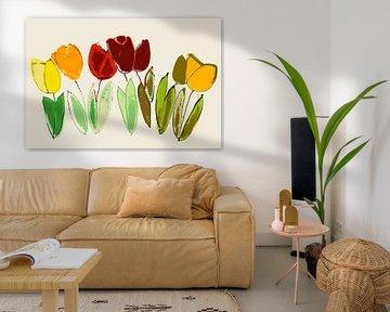 tulipes stylisées, presque abstraites sur Hanneke Luit