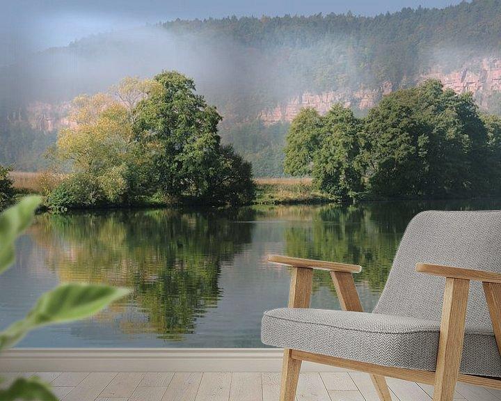 Sfeerimpressie behang: Een herfstochtend op de Main rivier van Gisela Scheffbuch