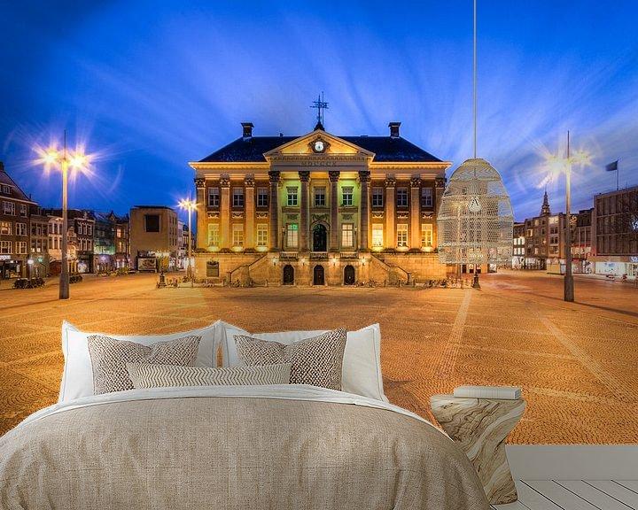 Sfeerimpressie behang: Stadhuis en Grote Markt Groningen van Frenk Volt