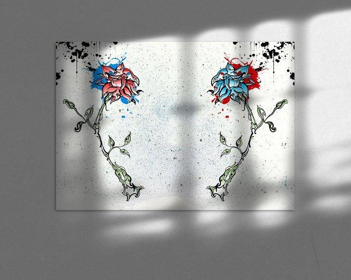 Sfeerimpressie: Rode en blauw bloem van Jeroen van der Steen