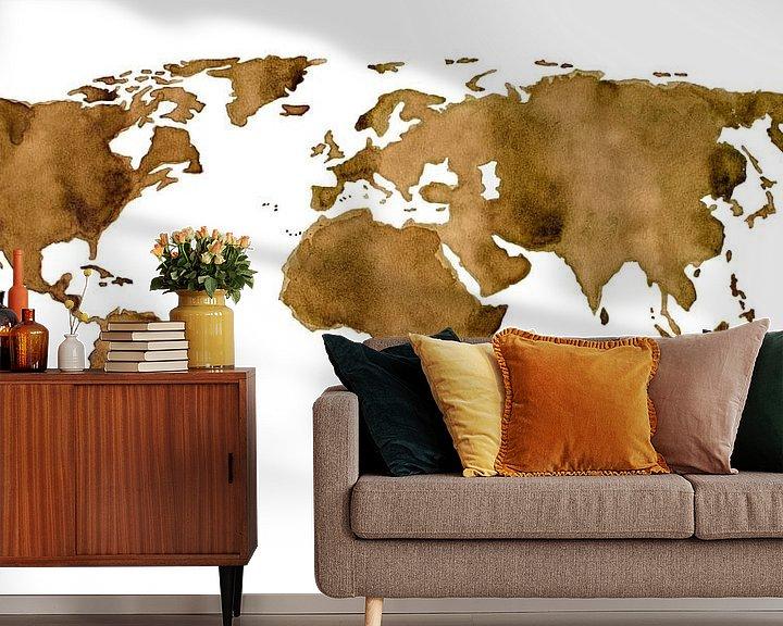 Sfeerimpressie behang: Wereldkaart van Espresso koffie van Wereldkaarten.Shop