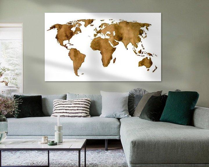 Sfeerimpressie: Wereldkaart van Espresso koffie van Wereldkaarten.Shop
