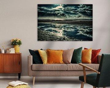 Dänemark Strand mit Wasserspiegelung van Dirk Bartschat