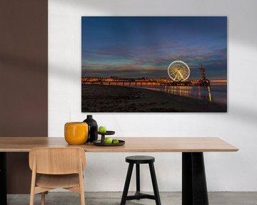 Scheveningen Strand, Pier und das Riesenrad zur blauen Stunde von Gea Gaetani d'Aragona