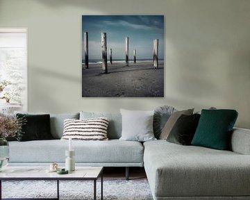 Grijsblauw tinten strand Petten von Niels Krommenhoek