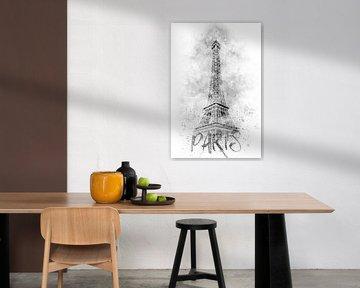 Monochrome Kunst EIFFELTURM | Aquarell von Melanie Viola