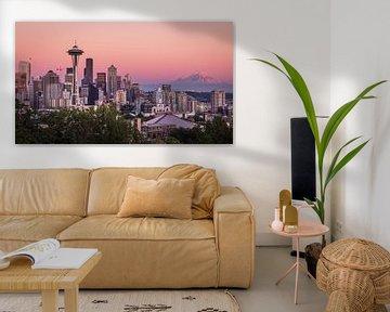 Zonsondergang in Seattle van Edwin Mooijaart