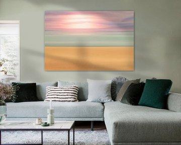Abstracte weergave van een strandlandschap door middel van doeke van Tonko Oosterink