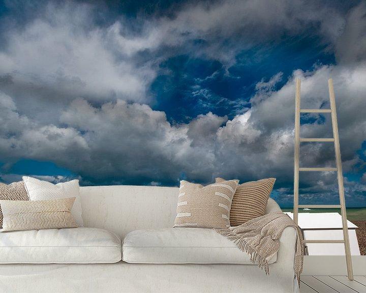 Sfeerimpressie behang: Strandhuisjes van Harrie Muis
