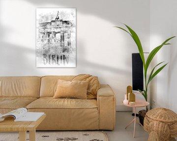 Monochroom Art BERLIN Brandenburger Tor | Aquarel van Melanie Viola