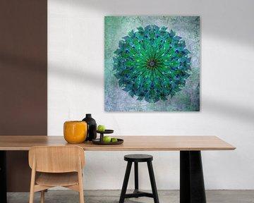 Mandala - Grunge in Grün und Blau von Rietje Bulthuis