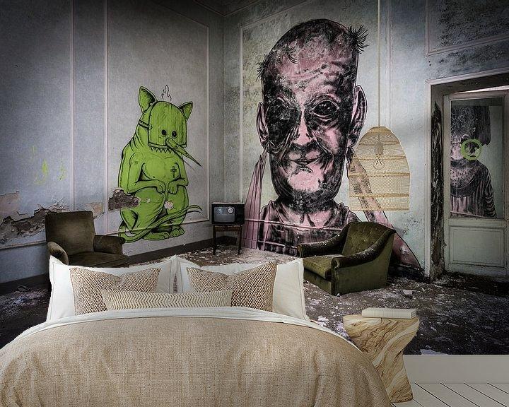 Beispiel fototapete: Graffiti in verlassenem Hotel von Inge van den Brande