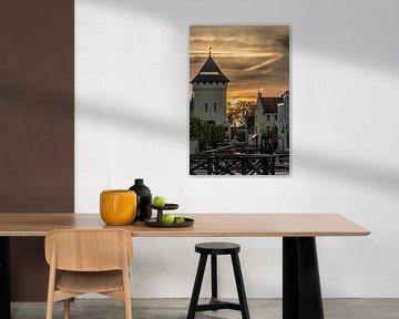 Geulpoort in Valkenburg in avondlicht von Evelien Heuts-Flachs