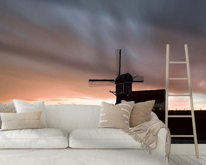 Sfeerimpressie behang: Zonsondergang in de polder van Harry Kolenbrander