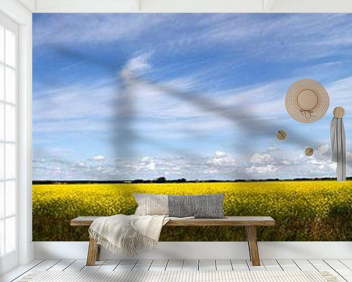 Sfeerimpressie behang: Koolzaadveld Texel van Martijn Smit