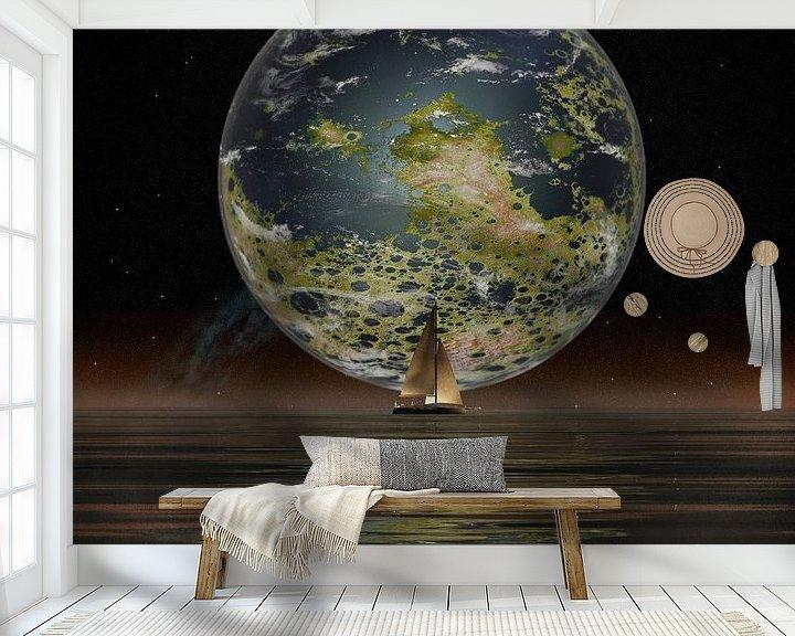 Sfeerimpressie behang: De Nieuwe Maan aan de horizon van Frans Blok