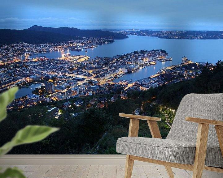 Beispiel fototapete: Blick auf Bergen, Norwegen von Sven Zoeteman