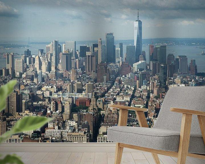 Sfeerimpressie behang: Uitzicht over New York City vanaf Empire State Building van Karin Mooren