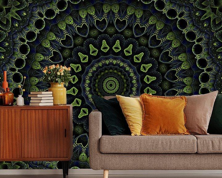 Sfeerimpressie behang: Mandala groen van Marion Tenbergen