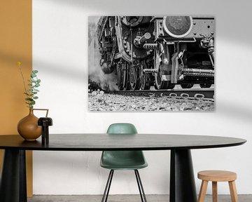stoom locomotief detail in zwartwit von Chris van Es