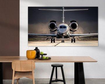 Business Jet im Regen von Mark de Bruin
