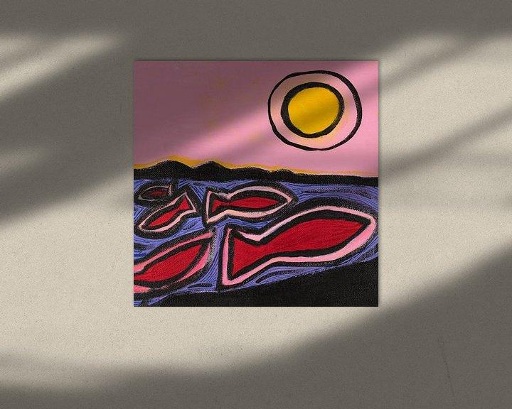 Sfeerimpressie: vissen en de zon (2) van Verbeeldt