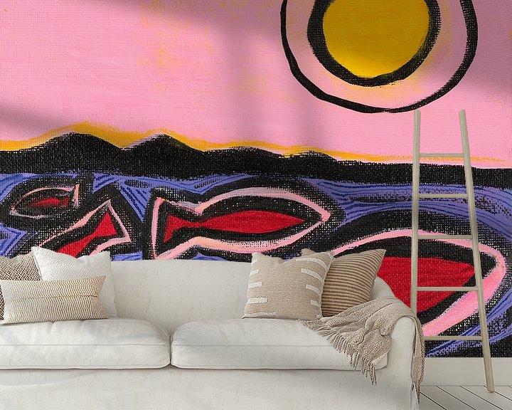 Sfeerimpressie behang: vissen en de zon (2) van Verbeeldt