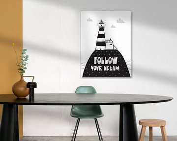 Kinderkamer Zwart Wit - Sea Adventure Follow Your Dream -Print van AMB-IANCE .com