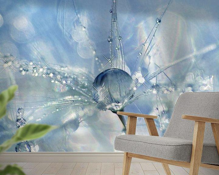 Sfeerimpressie behang: Shine Bright... (Paardenbloempluis met druppels) van Caroline Lichthart