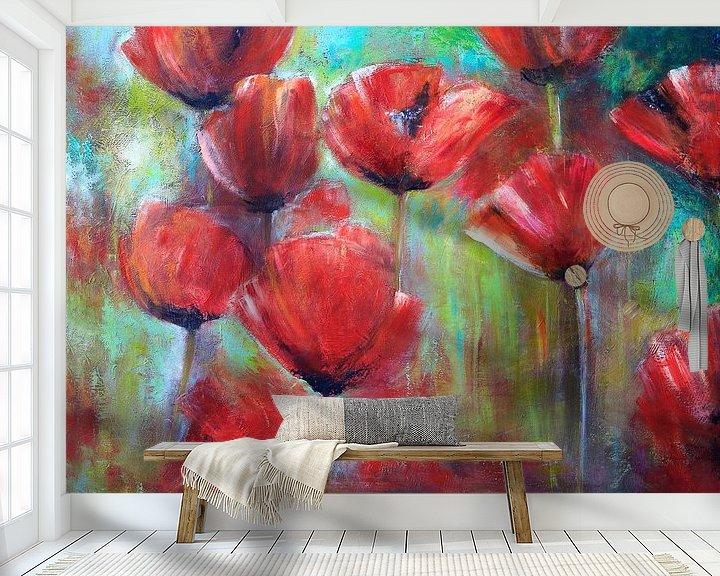Beispiel fototapete: klaprozen ( poppies) schilderij von Els Fonteine