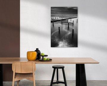 Vent fort sur le Leekstermeer (noir et blanc) sur R Smallenbroek