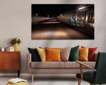 Gehweg aus Beton mit LED-beleuchteten Atmosphärenlampen und Aluminiumzaun von Fotografiecor .nl
