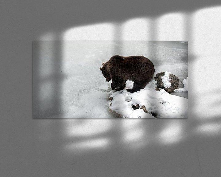 Sfeerimpressie: Bruine beer bij bevroren meer van Monique Pouwels