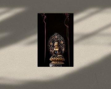 Buddha met gekleurde wierrook von Paul Tolen