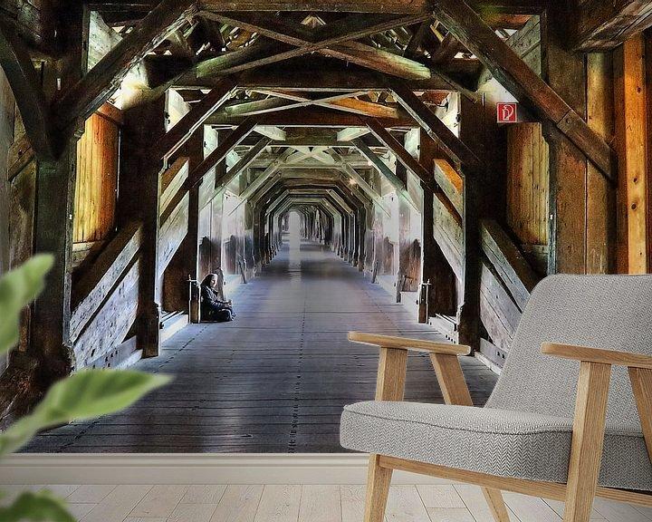 Sfeerimpressie behang: bridge / brug van Hilda booy