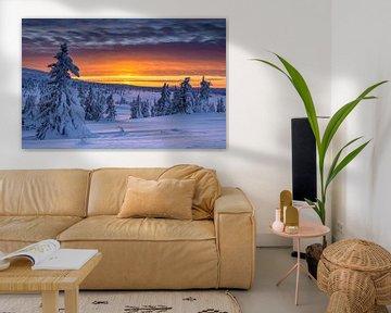 Winter Zonsondergang in Noorwegen van Adelheid Smitt