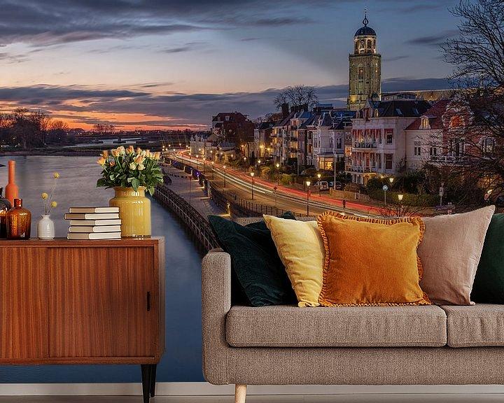 Sfeerimpressie behang: Deventer aan de IJssel bij zonsondergang van VOSbeeld fotografie