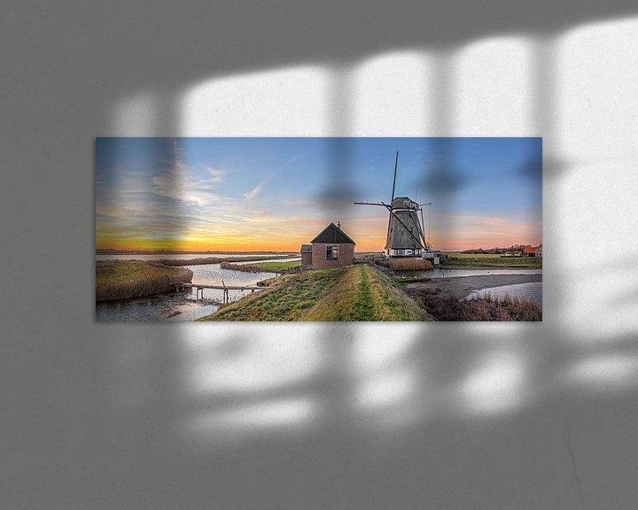 Sfeerimpressie: Zonsondergang, molen t Noorden op Texel / Sunset, Mill the North, Texel van Justin Sinner Pictures ( Fotograaf op Texel)