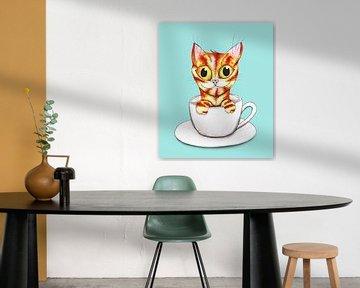 Gestreifte Kaffeekatze von Bianca Wisseloo