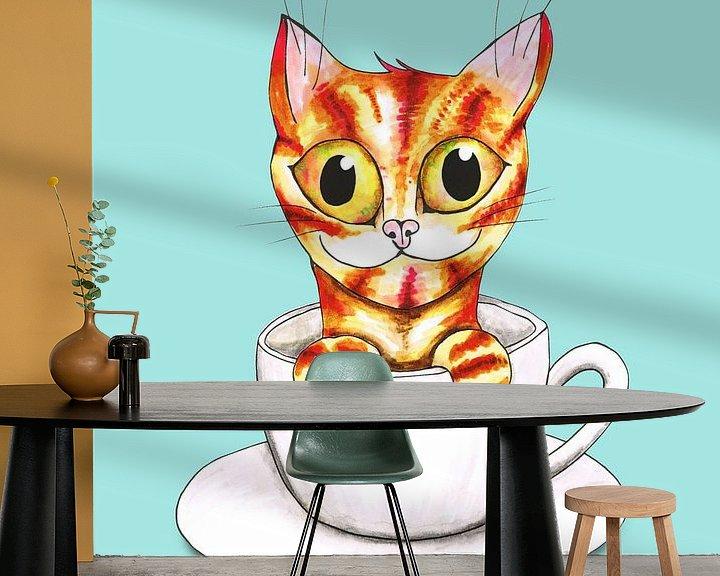 Beispiel fototapete: Gestreifte Kaffeekatze von Bianca Wisseloo