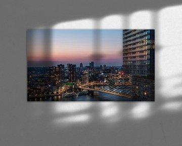 Rotterdamse nachtpanorama van Dawid Ziolkowski